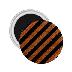 Stripes3 Black Marble & Rusted Metal (r) 2 25  Magnets by trendistuff
