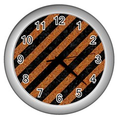 Stripes3 Black Marble & Rusted Metal (r) Wall Clocks (silver)  by trendistuff