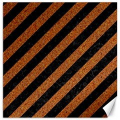 Stripes3 Black Marble & Rusted Metal (r) Canvas 12  X 12   by trendistuff