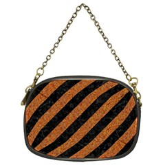 Stripes3 Black Marble & Rusted Metal (r) Chain Purses (one Side)  by trendistuff