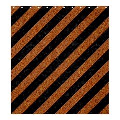 Stripes3 Black Marble & Rusted Metal (r) Shower Curtain 66  X 72  (large)  by trendistuff