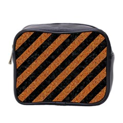 Stripes3 Black Marble & Rusted Metal (r) Mini Toiletries Bag 2 Side by trendistuff