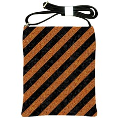 Stripes3 Black Marble & Rusted Metal (r) Shoulder Sling Bags by trendistuff