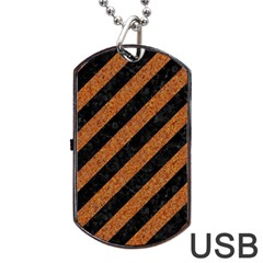 Stripes3 Black Marble & Rusted Metal (r) Dog Tag Usb Flash (one Side) by trendistuff