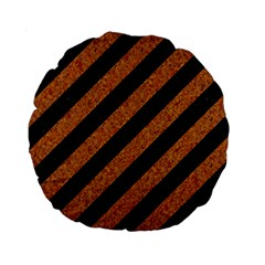 Stripes3 Black Marble & Rusted Metal (r) Standard 15  Premium Round Cushions by trendistuff