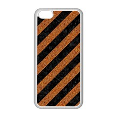 Stripes3 Black Marble & Rusted Metal (r) Apple Iphone 5c Seamless Case (white) by trendistuff