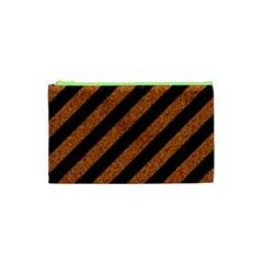 Stripes3 Black Marble & Rusted Metal (r) Cosmetic Bag (xs) by trendistuff