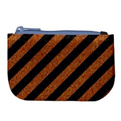 Stripes3 Black Marble & Rusted Metal (r) Large Coin Purse by trendistuff