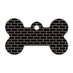 Brick1 Black Marble & Sand (r) Dog Tag Bone (two Sides) by trendistuff