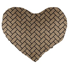 Brick2 Black Marble & Sand Large 19  Premium Heart Shape Cushions by trendistuff