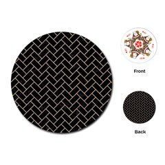 Brick2 Black Marble & Sand (r) Playing Cards (round)  by trendistuff