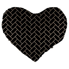 Brick2 Black Marble & Sand (r) Large 19  Premium Heart Shape Cushions by trendistuff
