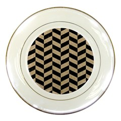 Chevron1 Black Marble & Sand Porcelain Plates by trendistuff