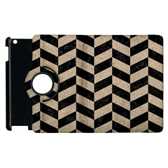 Chevron1 Black Marble & Sand Apple Ipad 3/4 Flip 360 Case by trendistuff