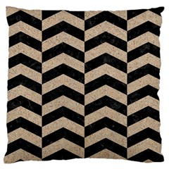 Chevron2 Black Marble & Sand Large Cushion Case (one Side) by trendistuff