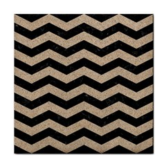 Chevron3 Black Marble & Sand Tile Coasters
