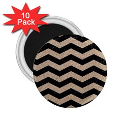 Chevron3 Black Marble & Sand 2 25  Magnets (10 Pack)  by trendistuff