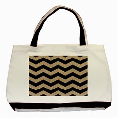 Chevron3 Black Marble & Sand Basic Tote Bag by trendistuff