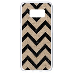 Chevron9 Black Marble & Sand Samsung Galaxy S8 White Seamless Case by trendistuff