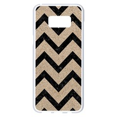 Chevron9 Black Marble & Sand Samsung Galaxy S8 Plus White Seamless Case by trendistuff