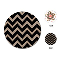 Chevron9 Black Marble & Sand (r) Playing Cards (round)  by trendistuff