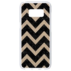 Chevron9 Black Marble & Sand (r) Samsung Galaxy S8 White Seamless Case by trendistuff