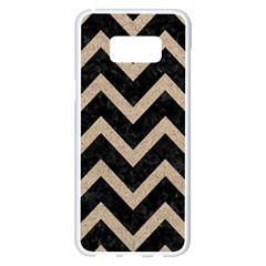 Chevron9 Black Marble & Sand (r) Samsung Galaxy S8 Plus White Seamless Case by trendistuff