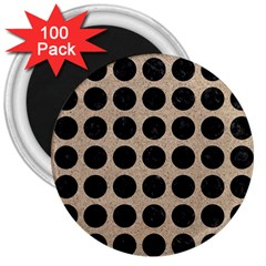Circles1 Black Marble & Sand 3  Magnets (100 Pack) by trendistuff