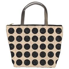 Circles1 Black Marble & Sand Bucket Bags by trendistuff