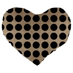 Circles1 Black Marble & Sand Large 19  Premium Heart Shape Cushions by trendistuff