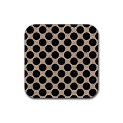 Circles2 Black Marble & Sand Rubber Square Coaster (4 Pack)  by trendistuff