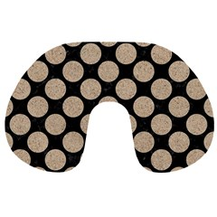 Circles2 Black Marble & Sand (r) Travel Neck Pillows by trendistuff