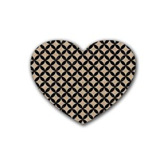 Circles3 Black Marble & Sand Rubber Coaster (heart)  by trendistuff