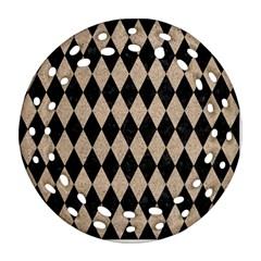 Diamond1 Black Marble & Sand Round Filigree Ornament (two Sides) by trendistuff