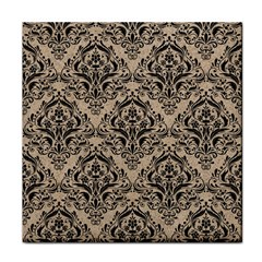 Damask1 Black Marble & Sand Tile Coasters