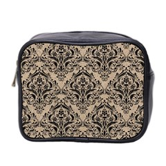 Damask1 Black Marble & Sand Mini Toiletries Bag 2 Side by trendistuff