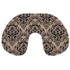 Damask1 Black Marble & Sand Travel Neck Pillows by trendistuff
