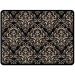 DAMASK1 BLACK MARBLE & SAND (R) Fleece Blanket (Large)  80 x60 Blanket Front