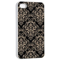 Damask1 Black Marble & Sand (r) Apple Iphone 4/4s Seamless Case (white) by trendistuff