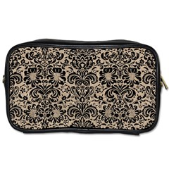Damask2 Black Marble & Sand Toiletries Bags by trendistuff