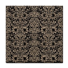 Damask2 Black Marble & Sand (r) Face Towel by trendistuff