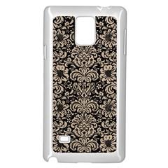 Damask2 Black Marble & Sand (r) Samsung Galaxy Note 4 Case (white) by trendistuff