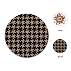 Houndstooth1 Black Marble & Sand Playing Cards (round)  by trendistuff
