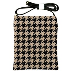 Houndstooth1 Black Marble & Sand Shoulder Sling Bags by trendistuff