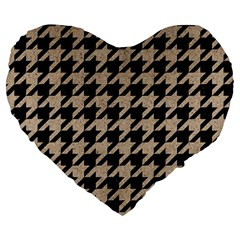 Houndstooth1 Black Marble & Sand Large 19  Premium Heart Shape Cushions by trendistuff