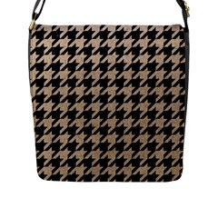Houndstooth1 Black Marble & Sand Flap Messenger Bag (l)  by trendistuff