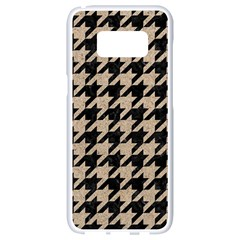 Houndstooth1 Black Marble & Sand Samsung Galaxy S8 White Seamless Case by trendistuff