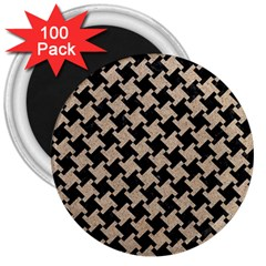 Houndstooth2 Black Marble & Sand 3  Magnets (100 Pack) by trendistuff