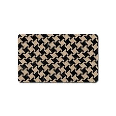 Houndstooth2 Black Marble & Sand Magnet (name Card) by trendistuff