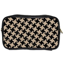 Houndstooth2 Black Marble & Sand Toiletries Bags by trendistuff